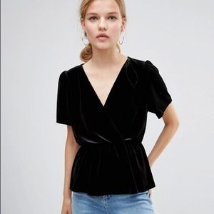ASOS Velvet Wrap Tea Blouse Black